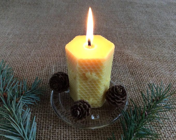 Beeswax Pillar Candle, Pure Beeswax Candle, Unscented Beeswax Candle, Hexagon Shape Beeswax Candle, Honeycomb Bee Candle, Natural Candle