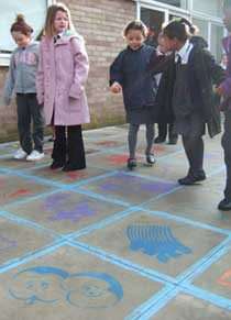 Story hopscotch - giant story map where children hop through a traditional tale. Love it!