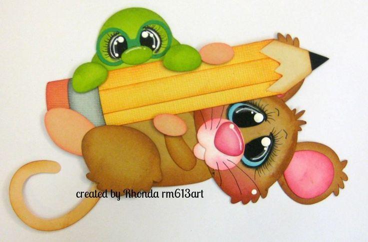School Mice w/ pencil paper piecing premade scrapbook page Rhonda rm613art