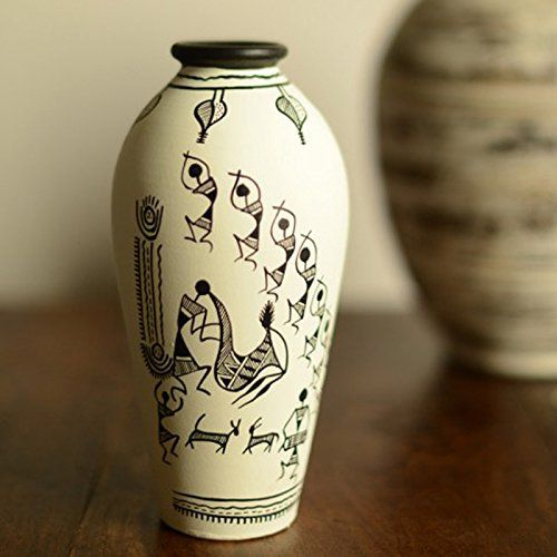 ExclusiveLane Terracotta Handpainted Warli Vase Round White 6 Inch- Home Decor / Gift Item