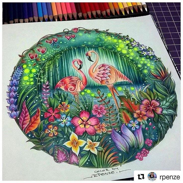 Perfeição! #Repost @rpenze (@get_repost) Meus Flaminguinhos do Selva Mágica Finalmente terminados @johannabasford - Editora Sextante - miscelânea de materiais escolares e canetas #rpenze #livrosdecolorir #lapisdecor #coloringbook #coloredpencils #markersnpens #gelpens #magicaljungle #selvamagica