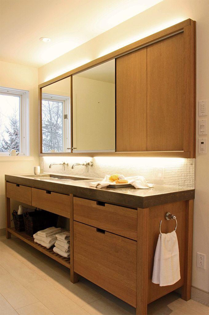 8 best salle de bain contemporaine images on pinterest bathroom contemporary teal bathrooms - Meuble lavabo bois ...