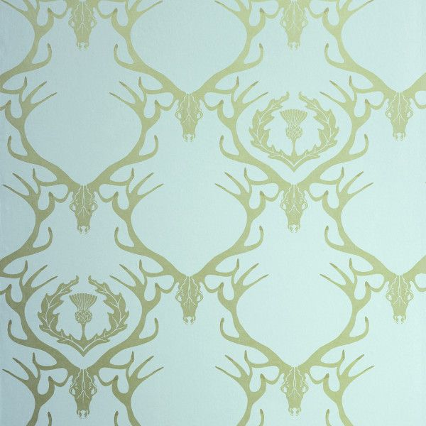 BRADLEY USA │Deer Damask Dug Egg Blue Antique Gold Wallpaper by Barneby Gates Textiles. Find it at shop.bradley-usa.com! #bradleyusa