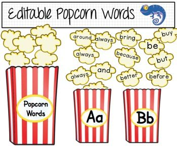 Popcorn Words Word Wall (in two sizes) based on the Dolch word list with other high frequency words included. Please open the preview for a full list of the words used. Alphabet boxes and EDITABLE popcorn boxes and cards (in two sizes) are included. The text automatically resizes in the text boxes.This zipped file contains:150 Popcorn Words PDF  - 3 words per page Approximately 6 wide.150 Popcorn Words PDF  2 words per page Approximately 5 wide.12 Blank Editable Popcorn cards in two sizes…