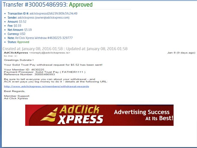 "INCOME JUST BY WATCHING ADS AND POSTING ""I WORK FROM HOME less than 10 minutes and I manage to cover my LOW SALARY INCOME. If you are a PASSIVE INCOME SEEKER, then AdClickXpress (Ad Click Xpress) is the best ONLINE OPPORTUNITY for you  And many more earnings with AdclickXpress like  GET RICH POSTING YOUR PAYOUT PROOFS AND GET REWARDS... For more Details Dial +918642008333To join Click the given link :- http://www.adclickxpress.is/?r=gs3wv27a2pqh&p=mx Ad ClickXpress"
