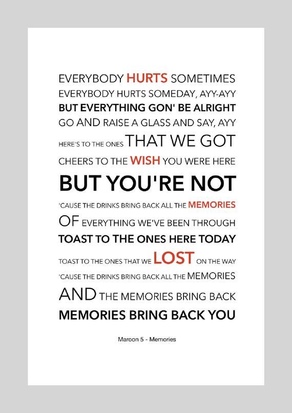 Maroon 5 Memories Lyric Art Poster A4 Size Rap Lyrics Quotes Song Lyric Quotes Maroon 5 Lyrics