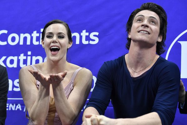 Tessa Virtue and Scott Moir of Canada celebrates at the kiss and cry after the Ice Dance Free Dance during ISU Four Continents Figure Skating Championships - Gangneung -Test Event For PyeongChang 2018 at Gangneung Ice Arena on February 17, 2017 in Gangneung, South Korea.