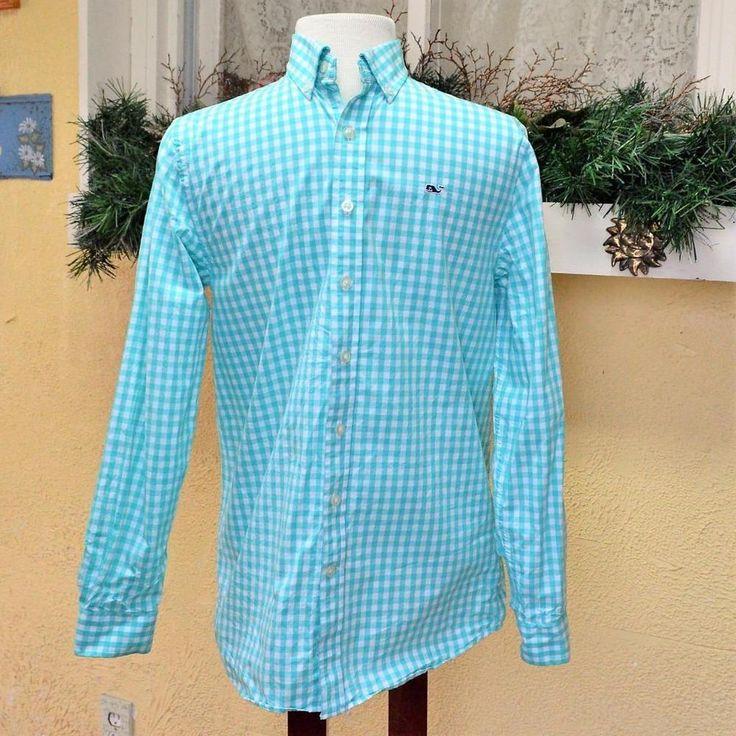Vineyard Vines 16 Boys Whale Shirt Mint Green White Gingham Plaid LS Buttons #VineyardVines #CasualDressy