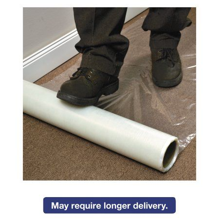 ES Robbins Roll Guard Temporary Floor Protection Film for Carpet, 36 x 2400, Clear