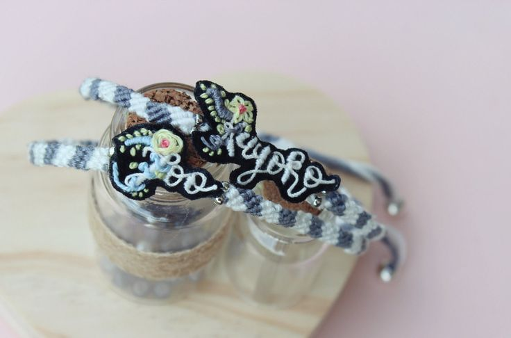 Boho custom words name embroidery macrame bracelet by FloriaBoutique on Etsy