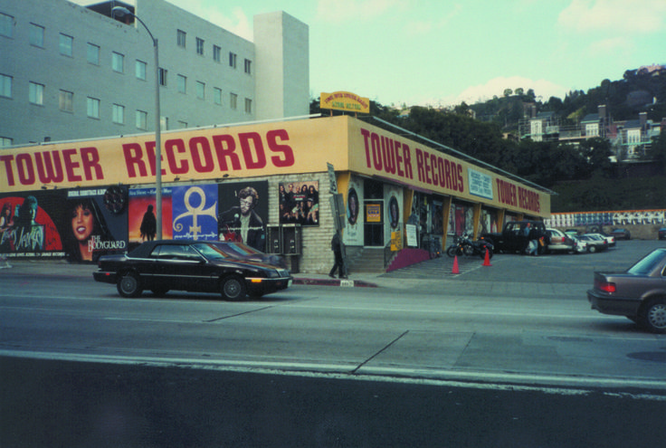 Tower Records on Sunset Blvd, ca. 1992