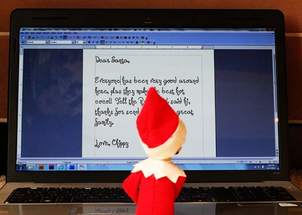Elf On The Shelf Typing Letter To Santa This Would Be