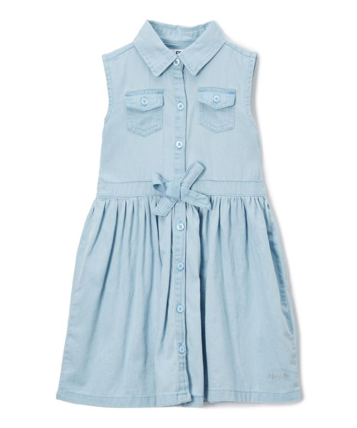A fitted sleeveless bodice gently flares into a skirt, upgrading a traditional shirt dress with a polished air.100% cottonMachine wash; tumble dryImported