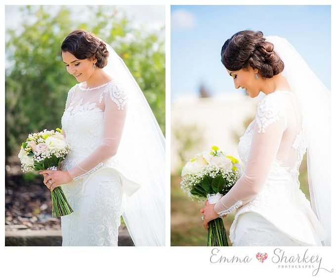 Emma Sharkey Photography • Adelaide Wedding Photography Beautiful soft upswept bridal hair with lose curls. Eliza French Wedding Gown White Bridal Bouquet