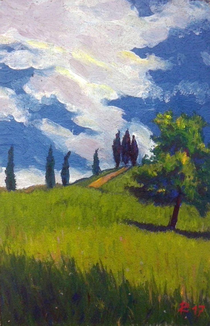 I cipressi della Valle del Curone -Affresco a tavolozza realizzato da www.robertozedda.it -Anno 2017.