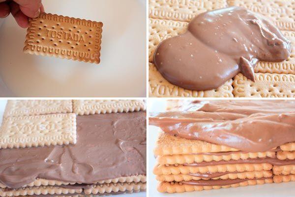 Pasos para hacer la tarta de galletas y crema de chocolate