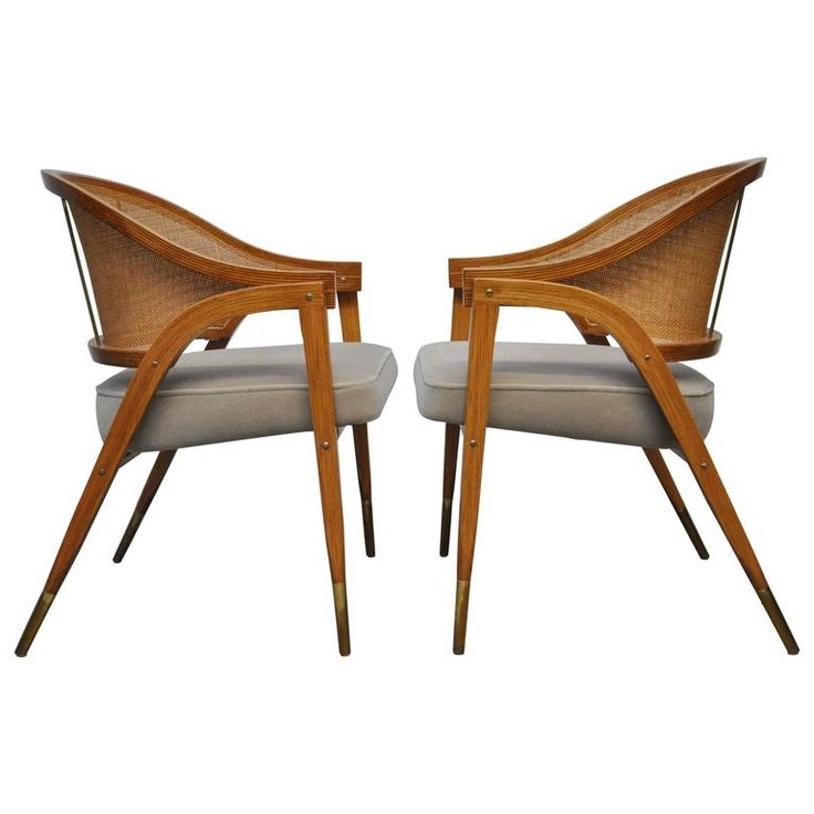 Pair of Captain Armchairs by Edward Wormley for Dunbar | From a unique collection of antique and modern chairs at https://www.1stdibs.com/furniture/seating/chairs/