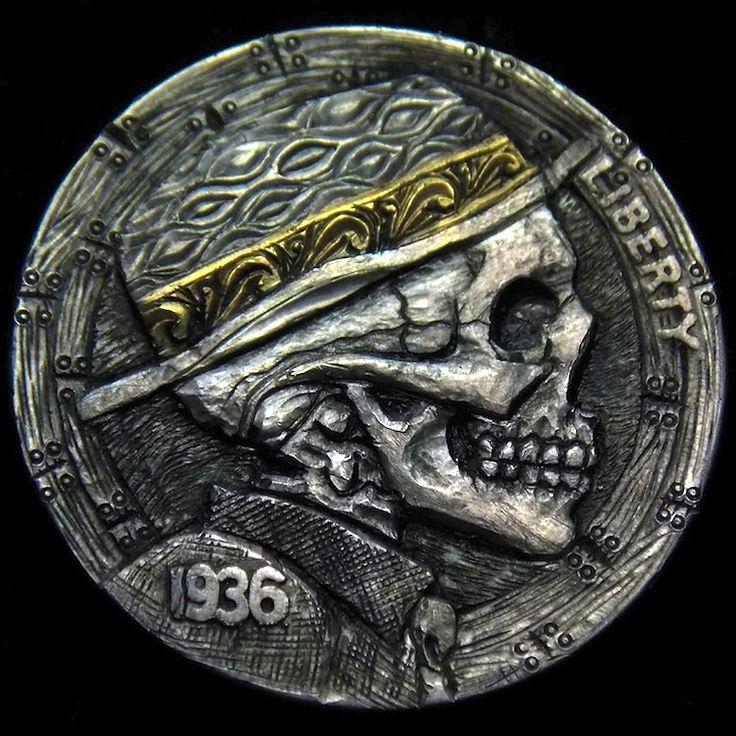 ROBERT MORRIS HOBO NICKEL - HOBO SKULL W/ 18kt GOLD INLAY - 1936 BUFFALO PROFILE