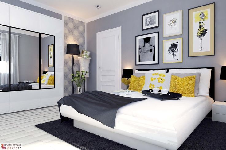 Aranżacja sypialni wystrój nowoczesny w kolorach biały, czarny, szary - projekt wnętrza o ID 6620353 w Homplex.pl, Zestaw wyposażenia za 20395 zł($6373)