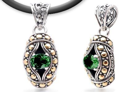 Gold and Silver Pendant with Green Quartz Stone.