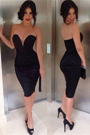 Sexy Mermaid Black Short V-neck Strapless Homecoming Dresses