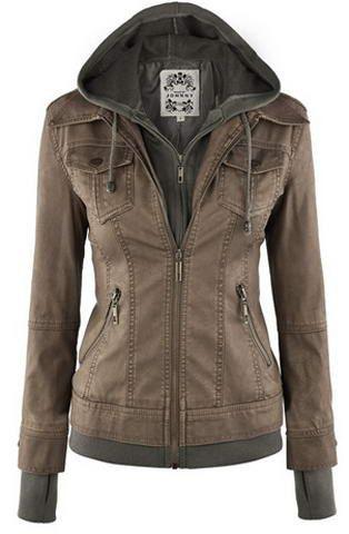 Trendy Hooded Long Sleeve Faux Twinset Pocket Design Jacket For Women
