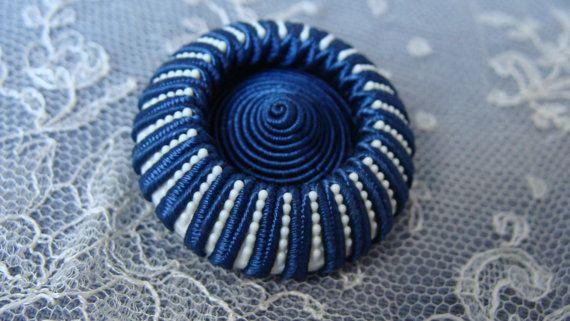 壮大な大きなヴィンテージ縫製ボタン - 繊維 - ブルー ・ ホワイト - ブートン クチュール