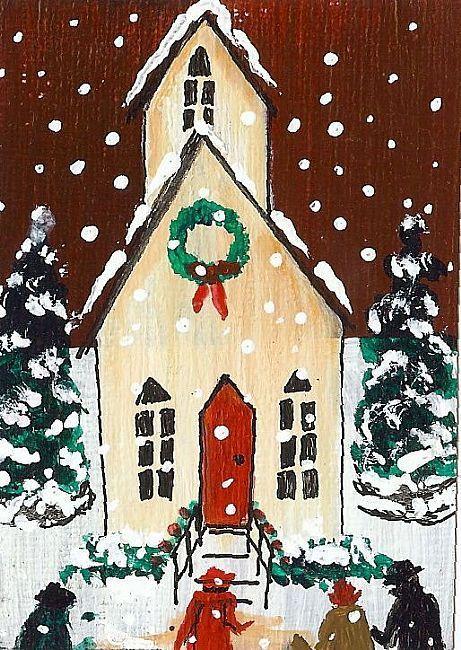 Art: ACEO Original Folk Art Church Snow Scene by Moody by Artist Tammy Fleetwood Moody