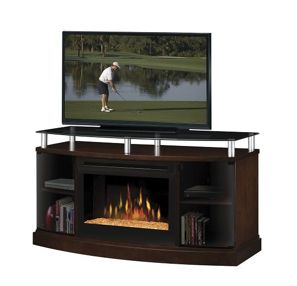 "Dimplex Windham Mocha electric fireplace media cabinet with 25"" firebox; $1099 cdn."