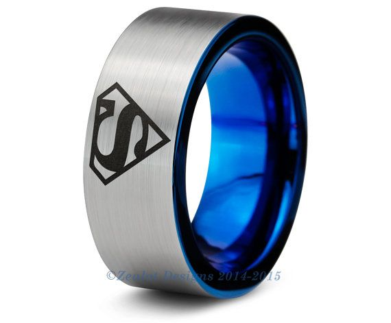 Superman Blue Tungsten Wedding Band Ring Mens Womens Pipe Cut Brushed Black Fan Comic Geek Anniversary Engagement ALL Custom Sizes Available
