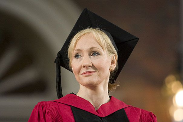 Important announcement, muggles: JK Rowling has a new book coming out. Now, before you start digging through your closets for your house robe, this next book won't be about the wizarding world whatsoever. Instead, this next book will focus on our world — aka, the non-magical world — and Rowling is going to impart only the best life advice. That's because the book will be the speech she gave at Harvard University's graduation commencement in 2008 titled, Very Good Lives: The Fringe Benefits…