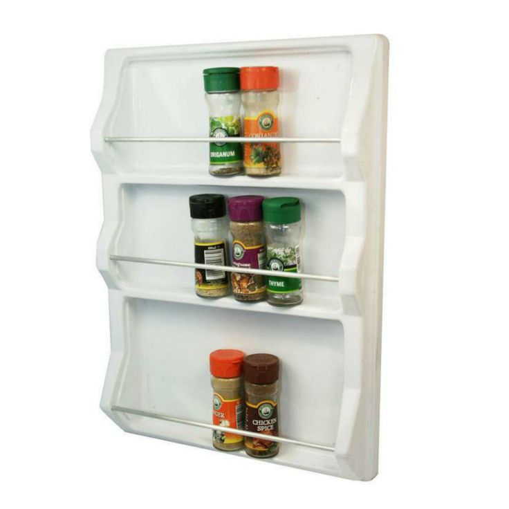 Plastic molded spice rack. Organise your spices in your kitchen cupboard.