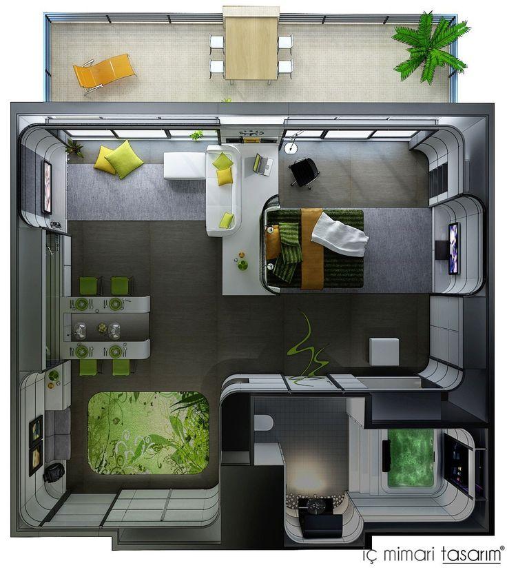 Studio Apartment Floor Plans   Mutfak kat planı Yatak odası kat planı Salon kat planı Oturma ...
