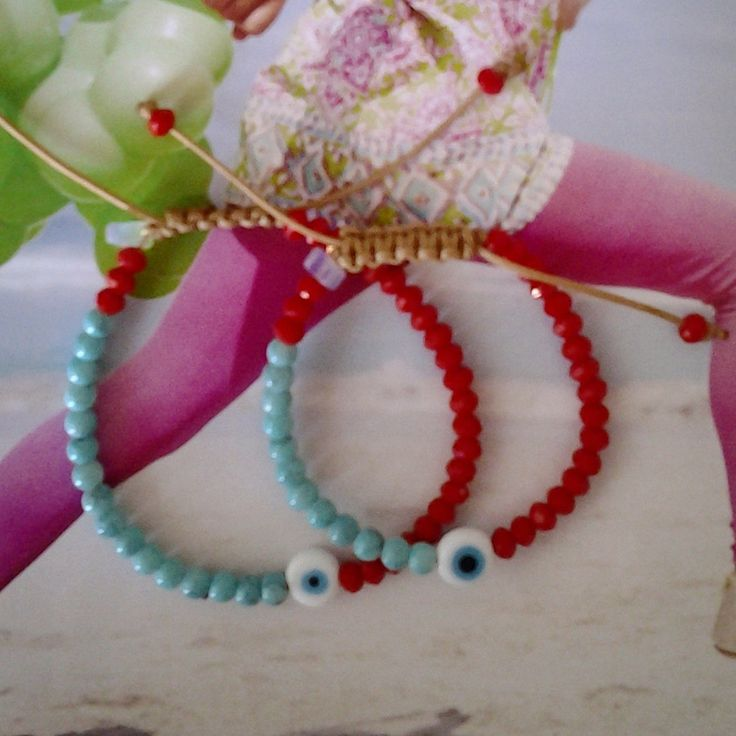 Mommy & Me, Red Crystal Bracelet with Turqoise and Evil Eye, Kids Bracelet, Turquoise, Red, Free Shipping by GlowHandmade on Etsy