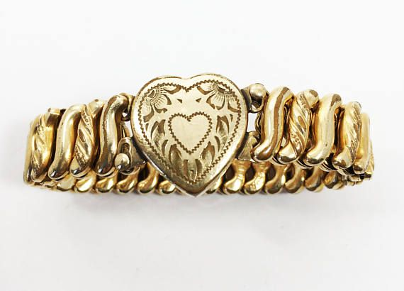 D.F.B. Co USA Sweetheart Stretch Bracelet, Vintage 1920s 1930s Gold Filled Jewelry Etched Heart and Flowers, Expansion Bracelet, WW I Retractable Bracelet, Offered by MimisJewelryBoutique  An antique (1890s or early 1900s) sweetheart bracelet. This gold filled bracelet features a