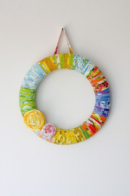 Vintage Sheet Wrapped Wreath-I guess this means I need to get more vintage sheets, so I need to go to more estate sales...