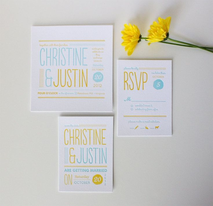 Modern Wedding Invitation - Christine - Whimsical Letterpress Invitation
