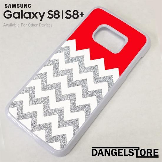 Red Silver Glitter Chevron For Samsung S8 | S8 Plus Case