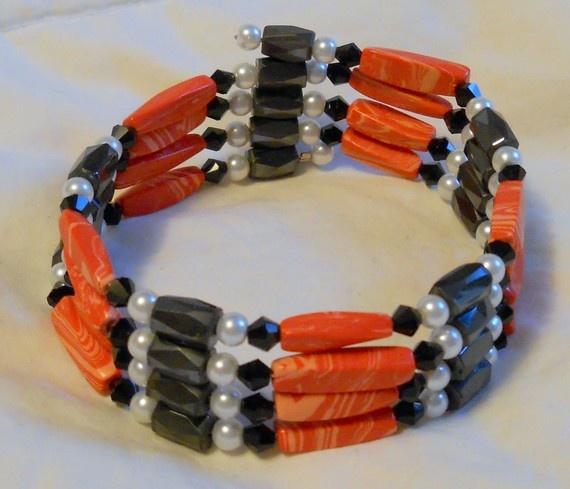 Black and Red Magnetic Wrap Bracelet or Necklace OOAK