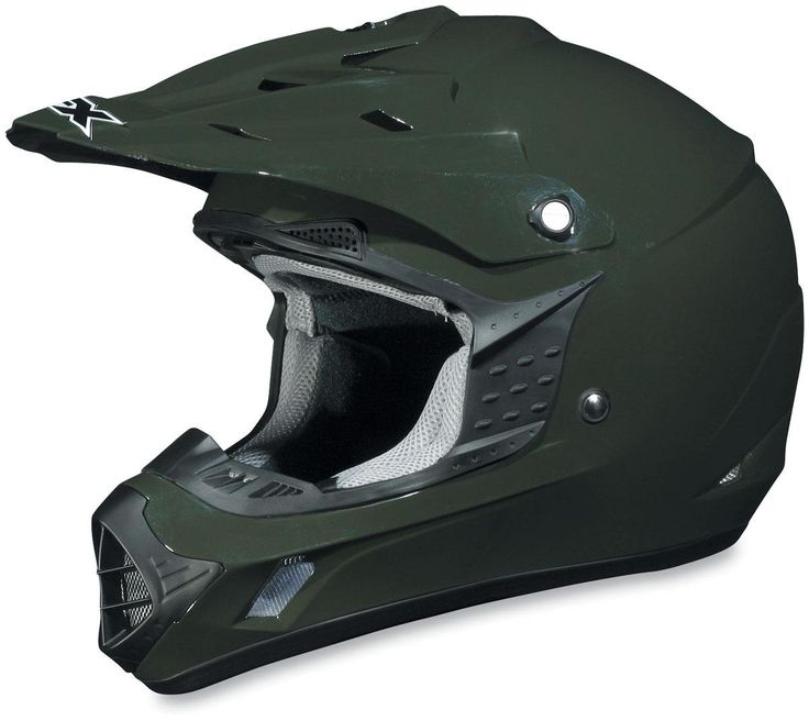 AFX FX-17 Solid Helmet , Size: XL, Primary Color: Green, Helmet Type: Offroad Helmets, Helmet Category: Offroad, Distinct Name: Olive, Gender: Mens/Unisex 01101760. Aerodynamic shell design constructed using advanced poly-alloy plastic for light weight /and strength. Hypo-allergenic and anti-microbial nylon liner and cheek pads are removable and washable. Ear cavity space for speakers. Removable screw on vented visor. Fully molded eye port trim with incorporated goggle grabber.