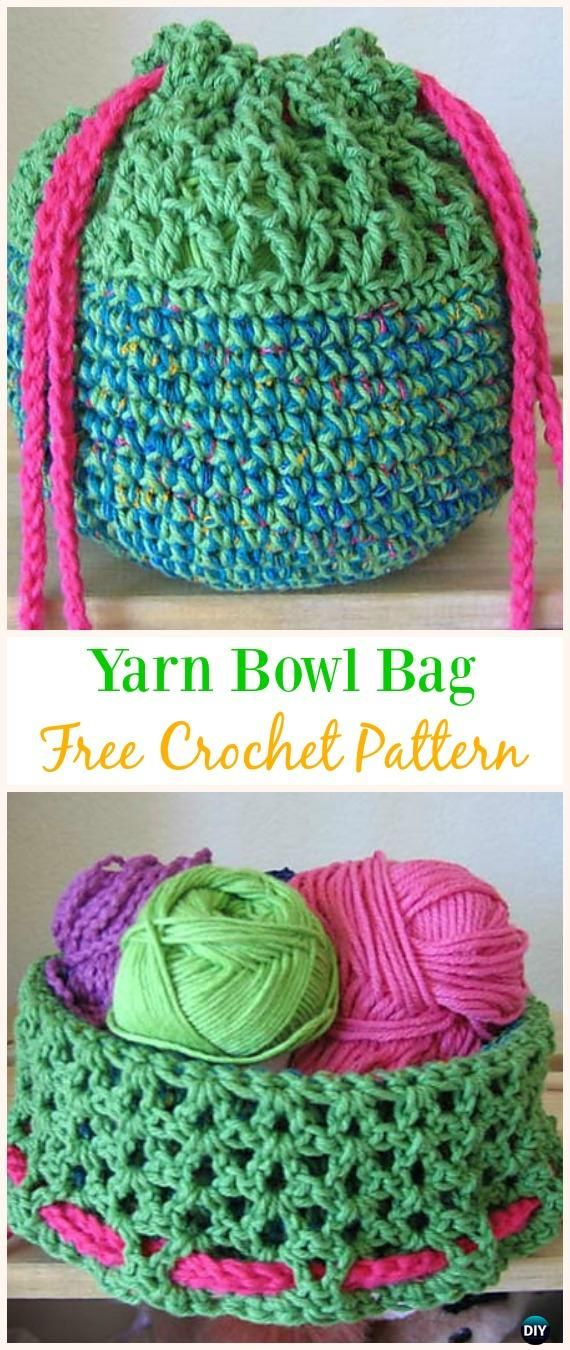 Yarn Bowl Bag Free Crochet Pattern -#Crochet Drawstring #Bags Free Patterns