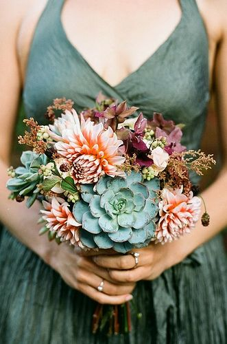 succulent bouquet - this idea appeals to Pendleton's Pacific NW roots. originally pinned by Miranda Fairchild.