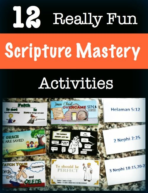 12 Really Fun Scripture Mastery Activities from The Red Headed Hostess - These are really fun for home or class!