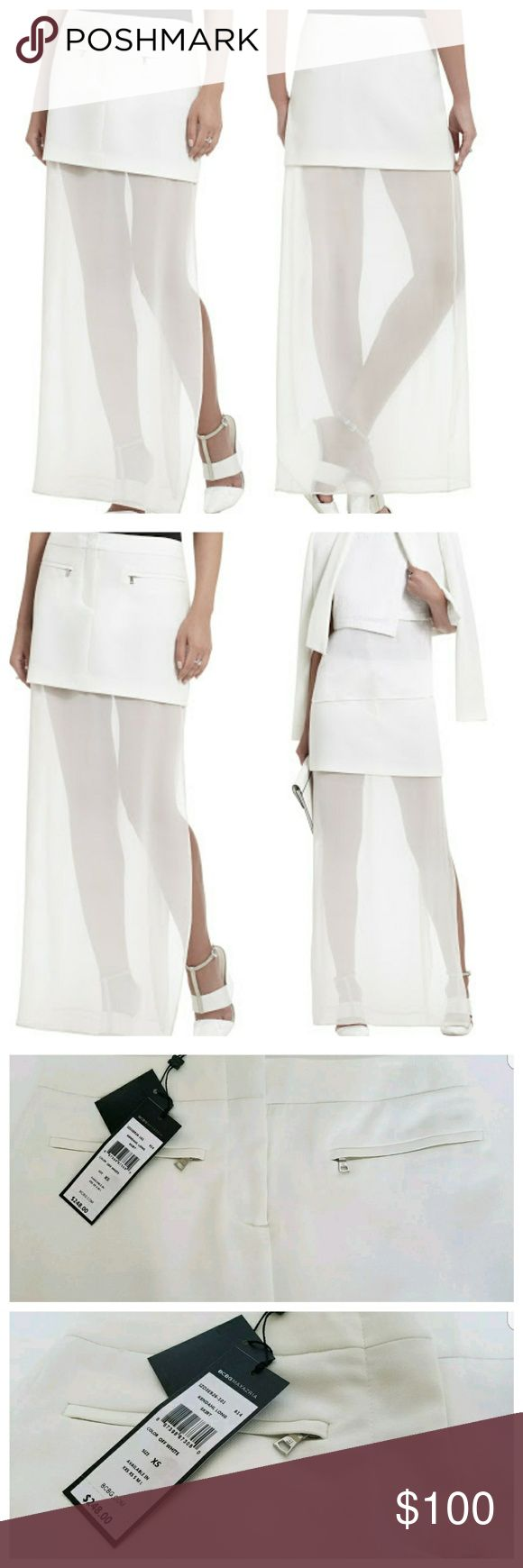 🎉New Bcbg Maxazria Kendahl Long Skirt New Bcbg Maxazria Kendahl Long Skirt   Give the illusion of a leg-lengthening mini when you step out in this elegant A-line maxi skirt.  Sits at waist. Front-to-back zipper closures A-line. Exposed, slightly sheer floor-length lining. Front zipper with hook-and-bar closure. Self: Polyester, Cotton jacquard. Contrast 1: 100% Silk chiffon. 2: Cotton, Silk canvas. Lining: Polyester, Spandex. Hand Wash.  Size xsmall New with tags color off white  I do…