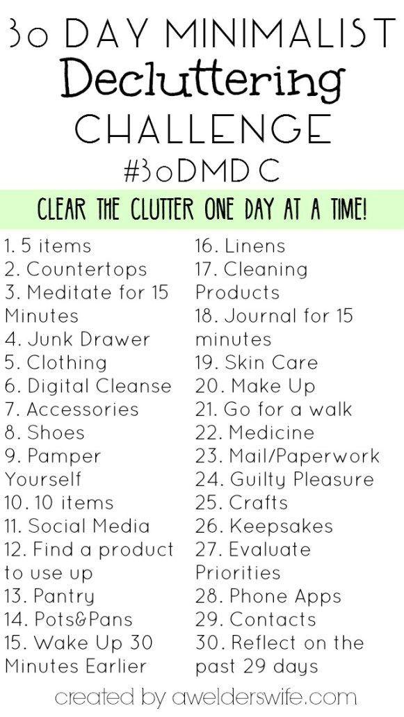 30 Day Minimalist Decluttering Challenge - A Welder's Wife