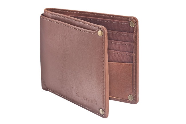 Leather Bi-fold double billed wallet with metal rivets, logo emboss and internal card slots. Wallets from Fastrack http://www.fastrack.in/product/c0315lbr01/?filter=yes=india=9=4&_=1334231927426