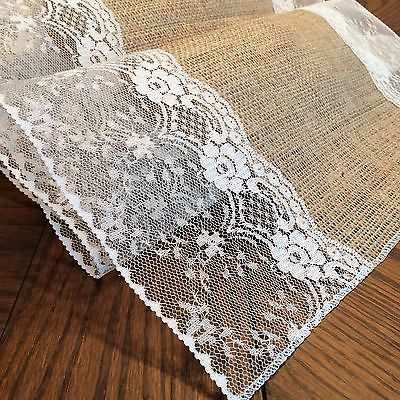 """Shabby-Chic Burlap and Lace Table Runners! (with """"Eliza Grace"""" style lace)[White,4 ft]"""