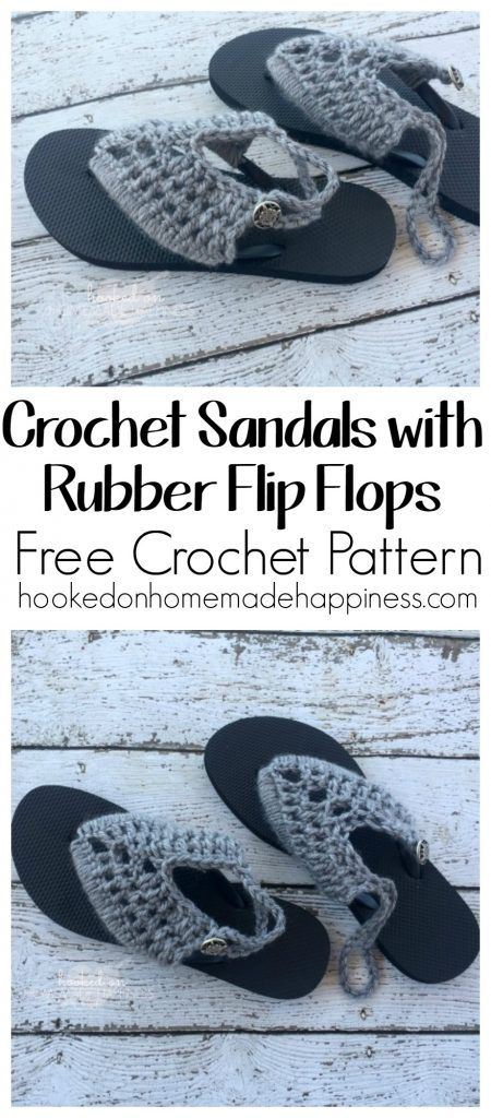 Crochet Sandals with Rubber Flip Flops - Hooked on Homemade Happiness