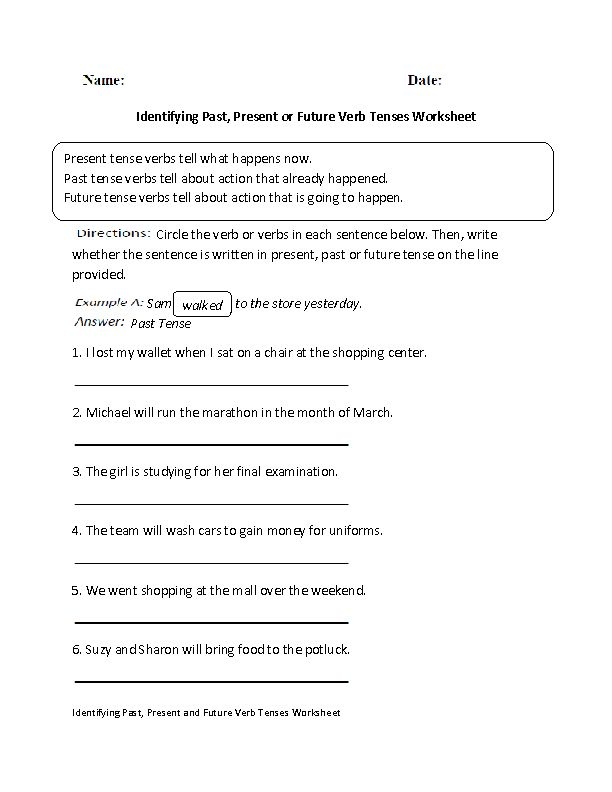 Identifying Past,Present or Future Verb Tenses Worksheet | Englishlinx ...