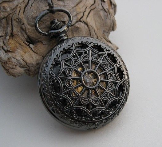 Pocket Watch 1882's Archaize Black Mechanical by ArtInspiredGifts, $44.00